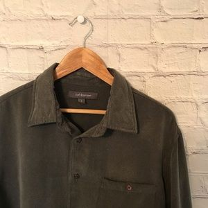 Croft and borrow men's button up olive/grey shirt